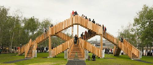 Cầu 'thiên đường' - mê cung gỗ dẫn lên trời