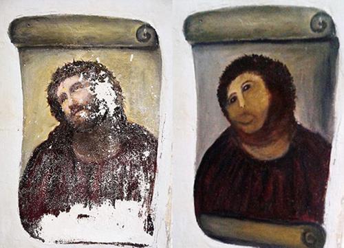 Du khách đổ xô đến xem bức tranh vẽ Chúa bị hỏng