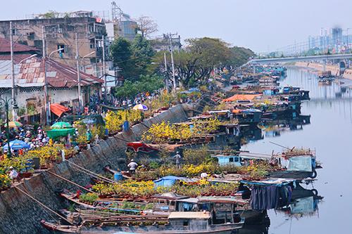 Chợ hoa trên sông bến Bình Đông giữa lòng Sài Gòn