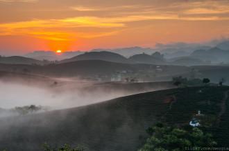 Bình minh huyền ảo cùng Cao nguyên Mộc Châu trong sương sớm
