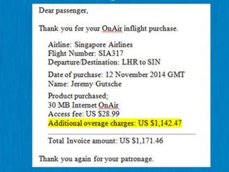 Hành khách sốc vì hóa đơn dùng wifi trên máy bay