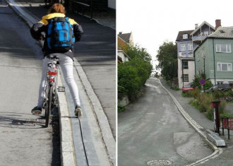 Na Uy xây cầu thang tự động cho người đi xe đạp
