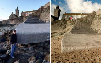 Bãi biển bị cuốn sạch cát chỉ sau một đêm