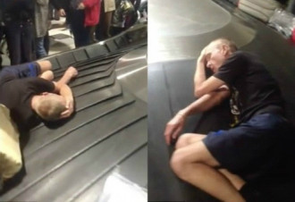 Du khách ngủ say trên băng chuyền đang chạy ở sân bay