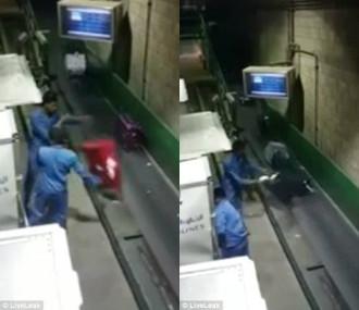 Nhân viên sân bay quăng quật hành lý lên băng chuyền