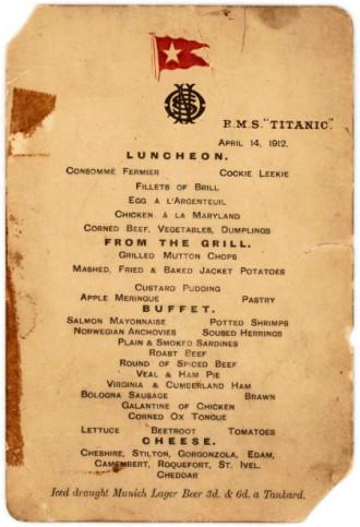 Thực đơn bữa trưa cuối cùng trên tàu Titanic