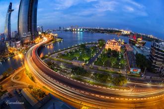 Sài Gòn hoa lệ về đêm nhìn từ góc độ trên cao